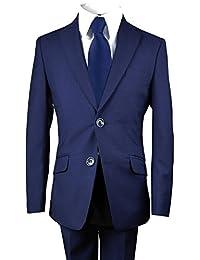 Boys Slim Suit N Tie in Micro Check Navy Blue