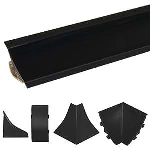 HOLZBRINK Rinconera Interior para el Copete de Encimera Negro Listón de Acabado PVC Copete para Encimeras