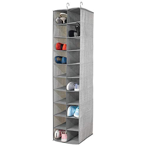(mDesign Soft Fabric Closet Organizer - Holds Shoes, Handbags, Clutches, Accessories - Large, 20 Shelf Over Rod Hanging Storage Unit - Textured Print - Gray)