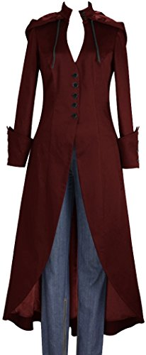 (XS-28) Vincent - Burgundy Long Trench USA Stock Gothic Hooded Steampunk Coat (P22)