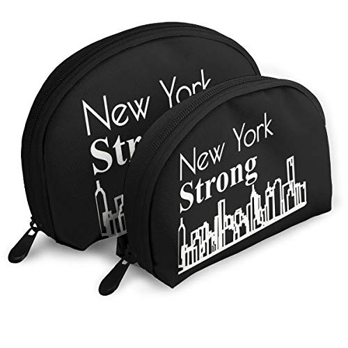 New York Strong Pride Skyline Girls Portable Shell Makeup Pouch Storage Bag Toiletry Organizer