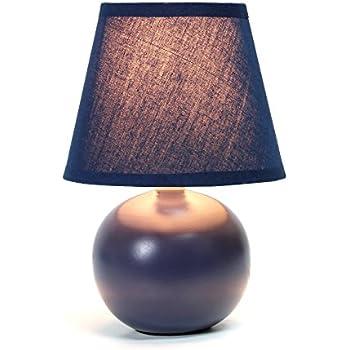 Simple Designs LT2008-BLU Mini Ceramic Globe Table Lamp, 8.78 x 5.55 x 5.55, Blue