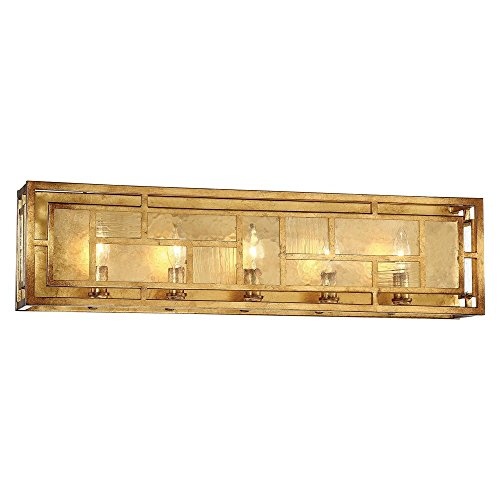 Minka Metropolitan N1475-293 Edgemont Park - Five Light Bath Vanity, Pandora Gold Leaf Finish with Textured Glass (Edgemont Bath Light)