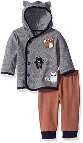 Rene Rofe Baby Boys' 2 Piece Hooded Cardigan and Pant Set for, Forest Friends Blue, 3-6 Months
