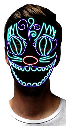 MuraK Light Up LED Scary Mask for Festival Halloween Costume Party Red