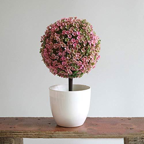 Haihuic Árboles de Bola de arbustos de Topiary Artificial de 25 cm Mini Plantas de Mesa de imitacion con macetas Blancas para el hogar, bano, decoracion de la casa Rosado