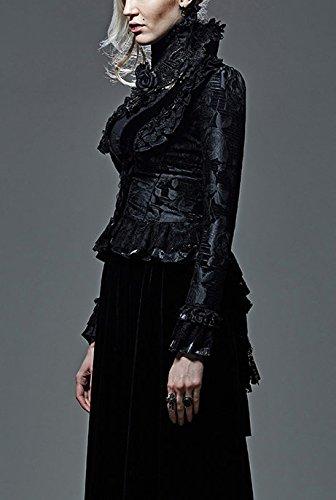Dans Baroques Avec Laçage Dentelles Dos Et Vi Motifs Le Gothique Noir Veste Boutons Noire EnqB8w0xf