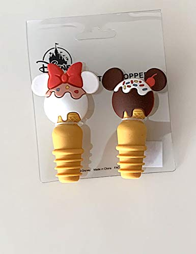 Disney Parks Mickey Minnie Mouse Sundae Snack Icon Bottle Stopper Set of 2