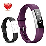 Lintelek Fitness Tracker, Slim Activity Tracker with Heart Rate Monitor, IP67 Waterproof Step Counter, Calorie Counter, Pedometer for Kids Women and Men (Purple+Black)