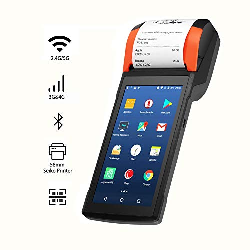 POS Receipt Printer 58mm Thermal Printer with Android 7.1 OS 5.45″ Touch Screen, Support 4G, Bluethooth, Wi-Fi Compatible with Loyverse iREAP and CashStock for Sales Retail Print