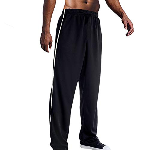 (EVERWORTH Men's Mesh Workout Jogging Pants Quick Dry Active Sports Sweatpants Open Bottom Athletic Pant with Zipper Pockets Blackwhite S Tag L)