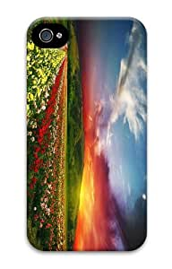the best case flower field sunset PC Case for iphone 4/4S