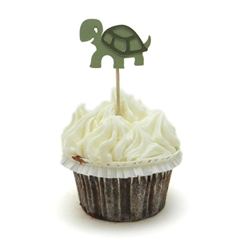 Turtle Cupcake Toppers Set of 12 Turtle Birthday