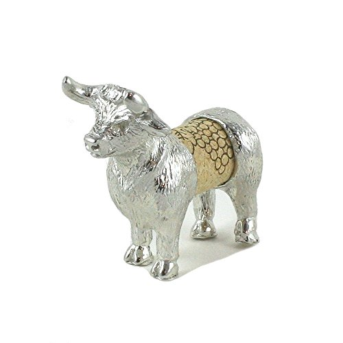 Bull Sculpture - Changeable Wine Cork Display - Gift Boxed - Handcrafted Pewter Made in USA