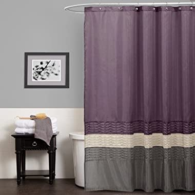 Lush Decor Mia Shower Curtain, 72 by 72-Inch, Purple/Gray