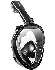 Flyboo GoPro, snorkelmasker, 180 graden zicht, panoramisch design, compatibel met duikmasker met anti-condens- en anti-luchttechnologie, voor volwassenen en kinderen, zwart, maat S/M