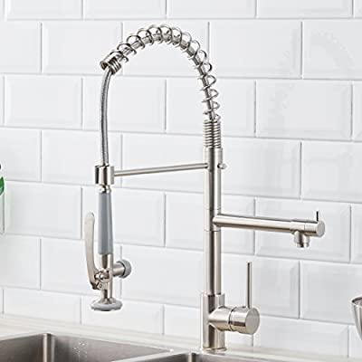 Fapully Commerical Pull Down Kitchen Sink Faucet with Sprayer Brushed Nickel