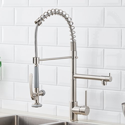 Fapully Commerical Pull Down Kitchen Sink Faucet with Sprayer Brushed Nickel (Sprayer Sink Faucet Kitchen)