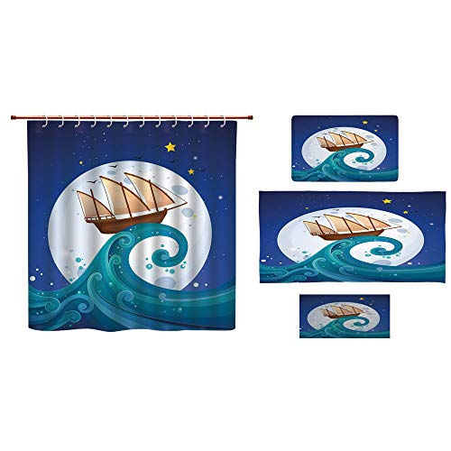 Mop Star Marine (Bathroom 4 Piece Set Shower Curtain Floor mat Bath Towel 3D Print,The Waves Full Moon and Stars Marine Cartoon,Fashion Personality Customization adds Color to Your Bathroom.)