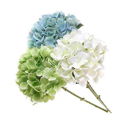 T4U 3 Heads Artificial Silk Hydrangea Flowers Fake Flowers Faux Flowers Bouquet for Flowers Arrangement Wedding Bouquet Table Centerpieces Home Garden Party Decoration (Blue+White+Green)