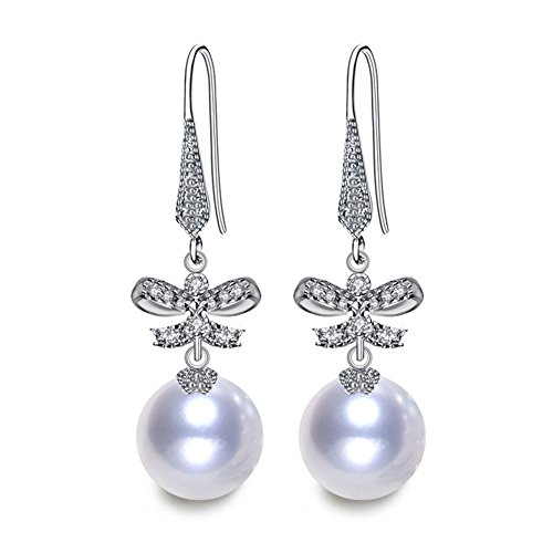 LSOOYH Bow Knot Round Shell Pearl Earrings Classic Butterfly Long Dorp Earrings ForWedding Party Birthday Women Girl Gift (White-2) -