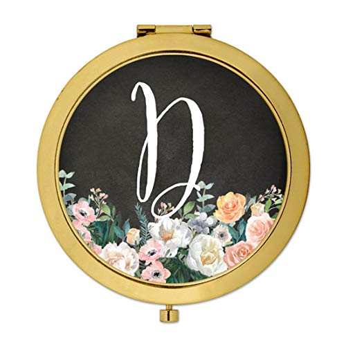 Andaz Press Gold Compact Mirror Bridesmaid's Wedding Gift, Peach Flower Florals on Chalkboard, Monogram Letter D, 1-Pack, Bachelorette Bridal Shower Wedding Party Gifts