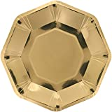 Gold Octagon Paper Plates for Wedding