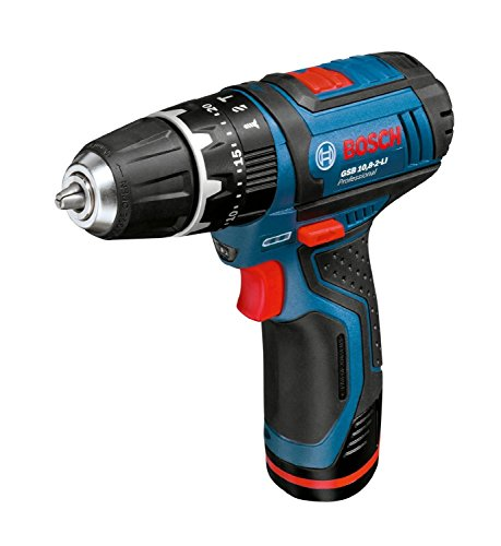 Combi Drill Cordless Hammer - Bosch Professional GSB 10.8-2 LI 10.8V Cordless Li-Ion 2-Speed Combi Drill in Carton / Hard Case + Charger(220V Europe C type Plug) + 2Ah x 2 Battery Include