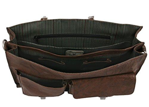 Aktentasche Ledertasche Tasche Akten Herren und Damen Leder Farbe dunkelbraun 09-0208