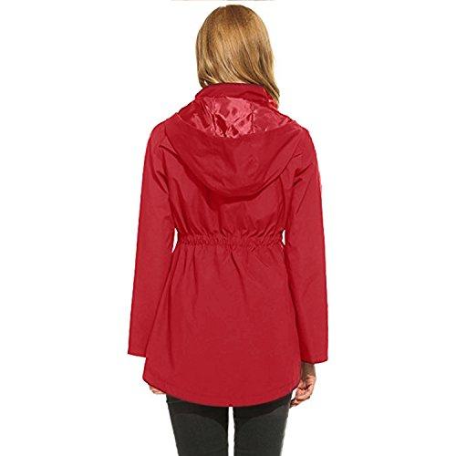 Outdoor Con Trench Giacca Donna Rosso Antipioggia Active Impermeabili Da 2 Cappuccio Unbrand XR1wqZ