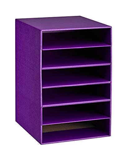 AdirOffice 6-Shelf Organizer - Corrugated Cardboard - Multipurpose Document Stand Rack - Space Saving Storage Rack - for Home, School & Office Use (Purple) -
