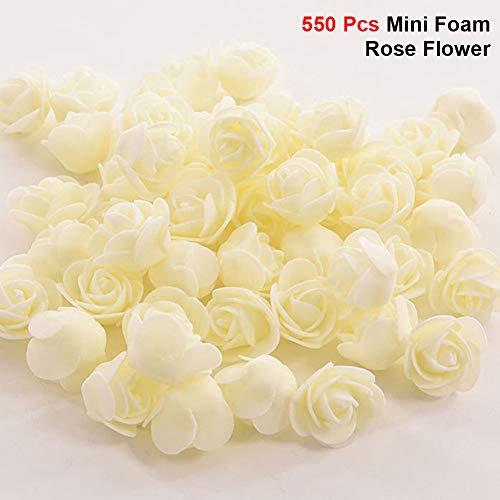 (DIY Rose Bear, 35CM Bear-Shaped Modeling White 3D Polystyrene Foam Bear Craft Foam Balls, 550 Pcs Mini Foam Rose Flower, DIY Craft Wedding Party Decoration (06 Foam Flower, 550pcs,)