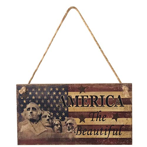 Lemoning  American 4th of July Independence Day Wooden Plaque Sign God Bless America (C)