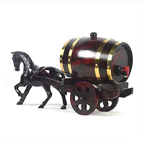 Wine Set Wine Barrel - Hand-Carved Art Oak Wine Barrels All Solid Wood Can Be Loaded with Wine Oak Barrel Wine Cabinet Decoration Crafts -/# (Color : 3L)