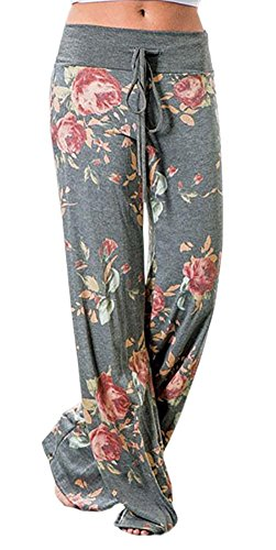 SENSERISE Womens Comfy Loose Baggy Yoga Long Pants Soft Floral Printed Trousers(Light Grey,2XL)