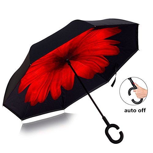 Inverted Umbrella Automatic Double-Layer Windproof,Travel Reverse Umbrellas UV Proof Folding for Women/Men.(Carmine - Close Men