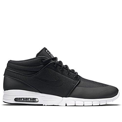 Nike Men's Stefan Janoski Max Mid Black/Blacl/Mtllc Silver/White Skate Shoe - 8.5
