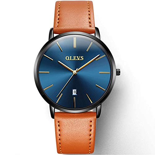 OLEVS Slim Watch for Men Day Date - Luxury Watches for Men and Ultrathin Comfortable Genuine Leather Wristwatch (Watch Date Slim)