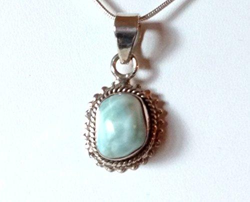 Larimar Necklace.925 Sterling Silver Necklace, Handmade,18