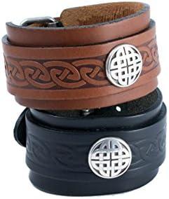 Cuff  Bracelet  Wristband  Men  Women  Celtic  Viking  Hand Crafted  Knotwork  Black Mavreick Water Buffalo Leather  Lady  Mans