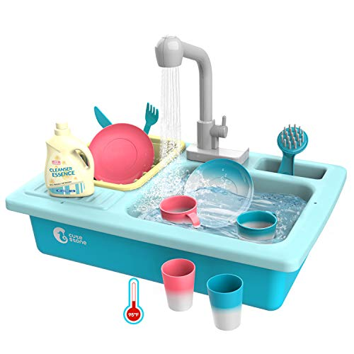 CUTE STONE Color Changing Kitchen Sink Toys, Children Heat Sensitive Thermochromic Dishwasher Playing Toy with Running Water, Play House Pretend Role Play Toys for Boys Girls