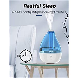 HiAir Cool Mist Humidifier Humidifier for Baby Bedroom, All Night Moisture Quiet Humidifier with High Low Mist, Auto-Off Timer, Night Light, Easy Use Filterless Humidifier for Home Office Nursery