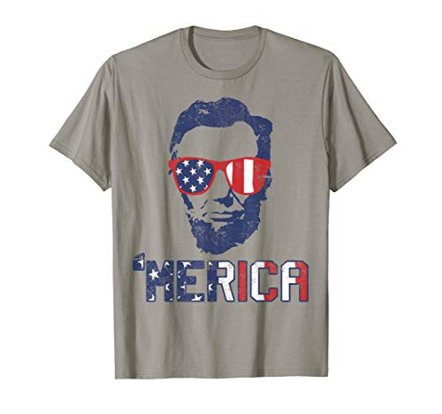 Abraham Lincoln T-Shirt USA Flag Tshirt 4th Of July Gift