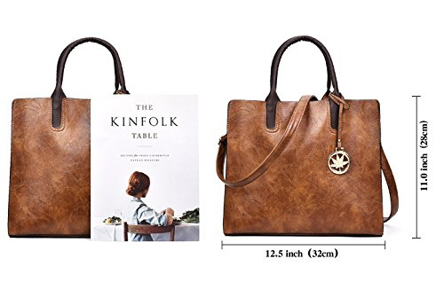 Shoulder Brown Designer for Women Purses Handbags Leather Tote 3pcs Satchel and Bag Sets 1O17zFnCW