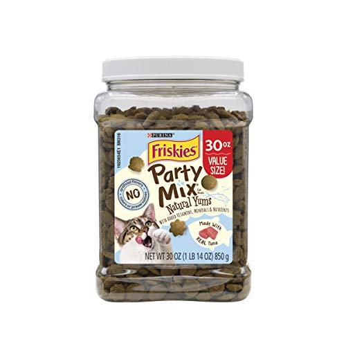 Purina Friskies Made in USA Facilities, Natural Cat Treats, Party Mix Natural YUMS with Real Tuna - 30 oz. Canister (30 Ounce Canister)