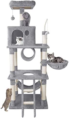 ARWEI Cat Tree with scrathing Ball, Multi-Layered Cat Condo with Sisal-Covered Scratch Columns, Cat Tower Pet Furniture Plush Habitat and Apartment, Grey