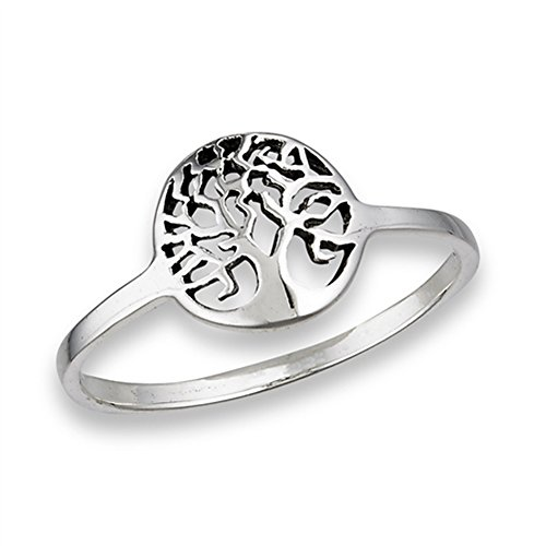 (Oxidized Filigree Tree of Life Ring New .925 Sterling Silver Band Size 8)