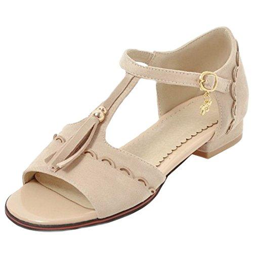 SJJH Damen Fashion Quasten Sandalen mit Flach Absatz Schuhe Sommer