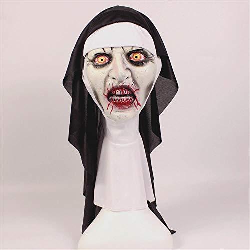 Liangliang Nun Mask Halloween Horror Makeup Mask Sly Grimacing Scary Latex Hooded Nun -