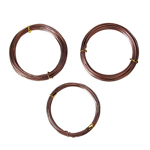 Quality Brown Long Lasting Bonsai Training Wire Set of 3 Sizes - 1.0mm, 1.5mm, 2.0mm, Corrosion and Rust Resistant (32 Feet Each Size)